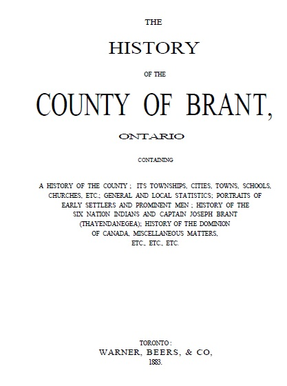 Warner and Beers History of Brant 1883